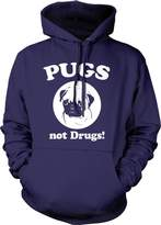 Crazy Dog T-shirts Crazy Dog Tshirts Pugs Not Drugs Hoodie - Funny Dog Sweatshirt For Animaovers (Navy)
