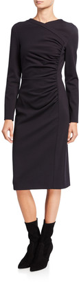 Escada Diasa Ruched Jersey Long-Sleeve Dress