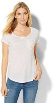 New York & Co. Crochet-Pocket T-Shirt