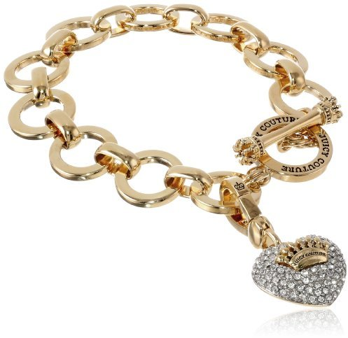 Juicy Couture Gold Pave Heart Starter Charm Bangle Bracelet, 7.5""