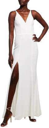 Dress the Population Iris Deep V-Neck Sleeveless Column Gown