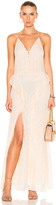 Jonathan Simkhai Silk Tie Dye Deep V Ruffle Gown