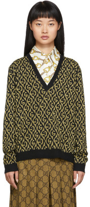 Gucci Gold and Black Lurex GG Sweater