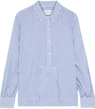 Current/Elliott The Emmy Pleated Striped Woven Blouse