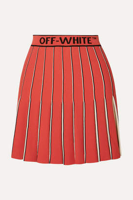 Off-White Pleated Knitted Mini Skirt - Red