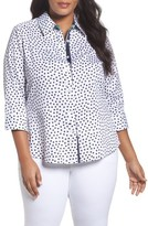 Foxcroft Plus Size Women's Dot Print Wrinkle Free Sateen Shirt