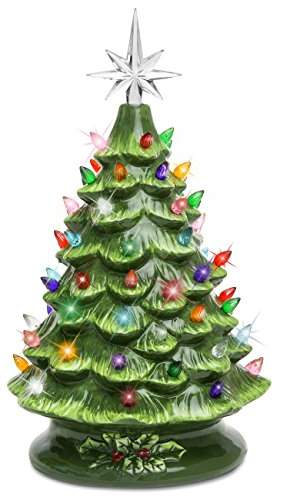 Best Choice Products 15in Pre Lit Hand Painted Ceramic Tabletop Artificial Christmas Tree Decor W 50 Multicolored Lights