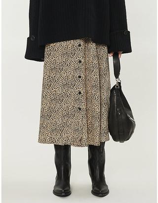 Zadig & Voltaire June leopard-print woven midi skirt