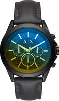 Armani Exchange Men's Chronograph Drexler Black Leather Strap Watch 46mm