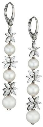 Adriana Orsini Silvertone, 6MM-8.5MM Pearl & Cubic Zirconia Linear Earrings