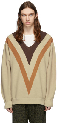 Needles Beige Double-Knit V-Neck Sweater