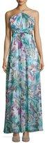 Aidan Mattox Halter-Neck Floral-Print Maxi Dress, Turquoise/Multi