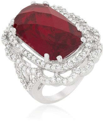 Kate Bissett White Platinum Overlay Red Cubic Zirconia Cocktail Crest Ring