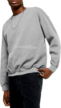 Topman Placement Oversize Crewneck Sweatshirt