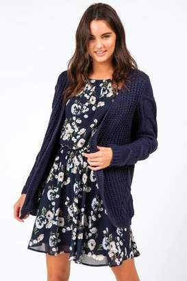 francesca's Quindalyn Cable Open Cardigan - Navy