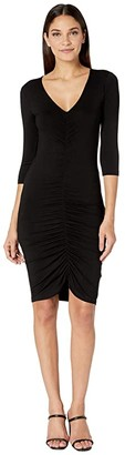 BB Dakota Rouched Mood Rayon Spandex Knit Dress (Black) Women's Dress