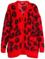 Miu Miu Textured Knit Leopard-Print Cardigan