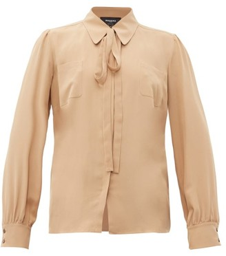 Rochas Pussy-bow Silk-crepe Blouse - Womens - Beige