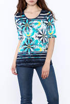 Tribal Aqua Floral Print Top