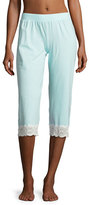 Cosabella Sonia Crop Lace-Trim Lounge Pants, Blue/White
