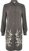 River Island Womens Charcoal grey embroidered longline shirt