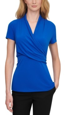 DKNY Short-Sleeve Side-Ruched Top