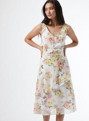 Dorothy Perkins Womens Dp Petite White Floral Print Ruffle Sleeveless Dress, White