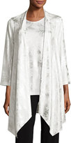 Caroline Rose Silver Cloud Drape-Knit Cardigan, White/Silver, Plus Size