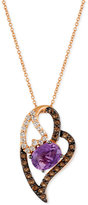 LeVian Le Vian® Amethyst (1-3/8 ct. t.w.), White Topaz (1/3 ct. t.w.) and Smoky Quartz (1/3 ct. t.w.) Heart Pendant Necklace in 14k Rose Gold