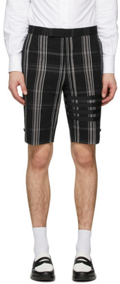 Thom Browne Black Seersucker Plaid 4-Bar Classic Shorts