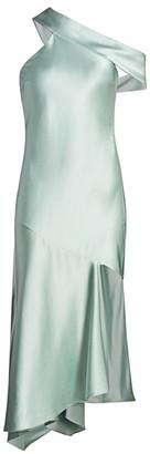 Cushnie Off-The-Shoulder Asymmetric Silk Slip Dress