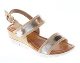 KensieGirl Tan & Gold Abstract Sandal