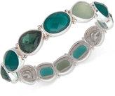 Nine West Silver-Tone Green Stone Stretch Bracelet