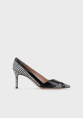 Giorgio Armani Houndstooth Fabric Court Shoes With Leather Details
