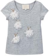 Hannah Banana Flower & Stone Bug Applique Tee (Toddler & Little Girls)