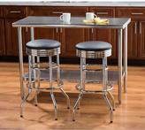 Trinity Faux Leather Swivel Stool Chair in Chrome (2-Pack)