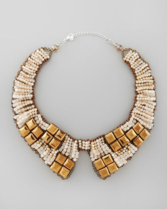 Nakamol Beaded Bib Collar Necklace, Gold/Tan