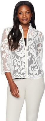 Kasper Women's Floral Lace Jacket with Zipper