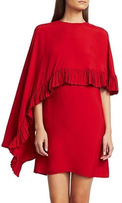 Valentino Flounce Trim Cape Dress