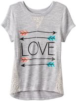 Miss Chievous Girls 7-16 Crochet Glitter Graphic Tee