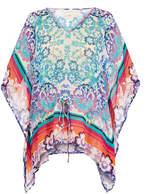 Nicole Miller Bloom Flower Print Silk Kaftan