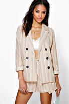 Boohoo Boutique Iris Stripe Linen Double Breasted Blazer