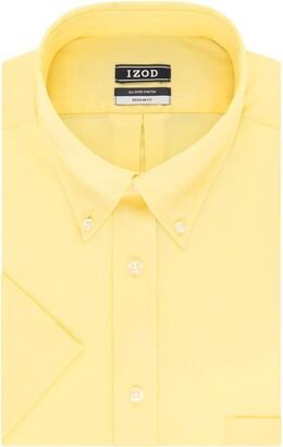Izod Men's Regular Fit Short Sleeve Solid Dress Shirt