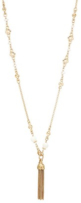 Gas Bijoux Florette 24K Goldplated, Mother-Of-Pearl & Crystal Tassel Pendant Long Necklace