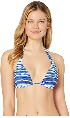 La Blanca Serene Stripes Halter Bra Top (Blue) Women's Swimwear