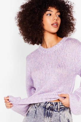 Nasty Gal Womens Puff Sleeve Us Out of Knit Relaxed Sweater - Lilac