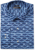 Bar III Men's Slim-Fit Stretch Indigo Tie Dye Print Dress Shirt, Only at Macy's