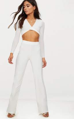 PrettyLittleThing Petite White Slinky Wide Leg Trousers
