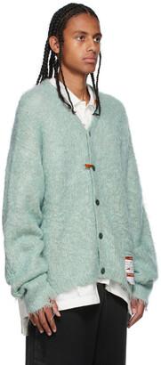 Miharayasuhiro Green Mohair Knit Cardigan