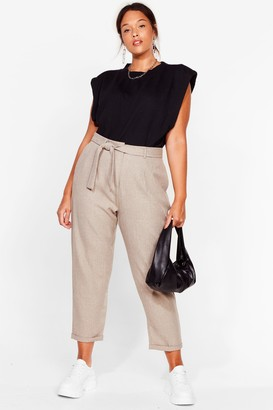 Nasty Gal Womens Tie Our Love Plus Belted Trousers - Beige - 16